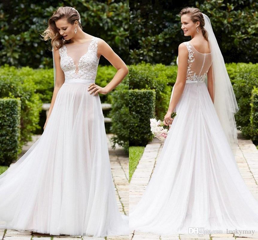 Discount 2015 Beach Wedding Flowy Soft Tulle Wedding