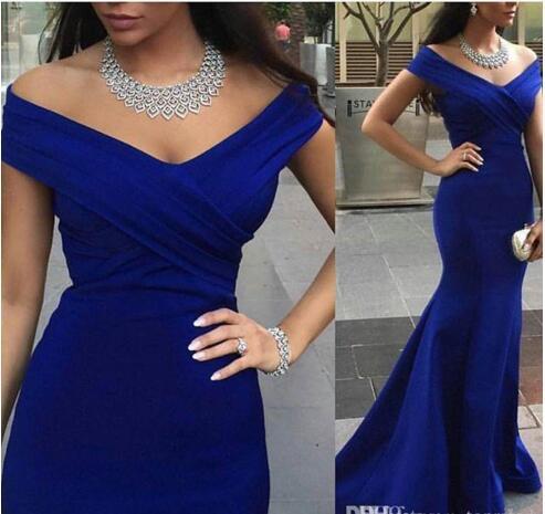 2016 Cheap Royal Blue Evening Arabic Dubai Formal Dresses Charming