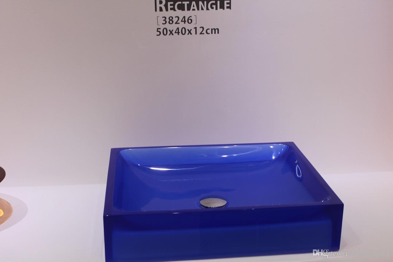 Cupc Certificate Bathroom Resin Rectangular Counter Top Sink Colourful Cloakroom Wash Basin Solid Surface Stone Vessel Sinks Rs38246 Counter Top Basins