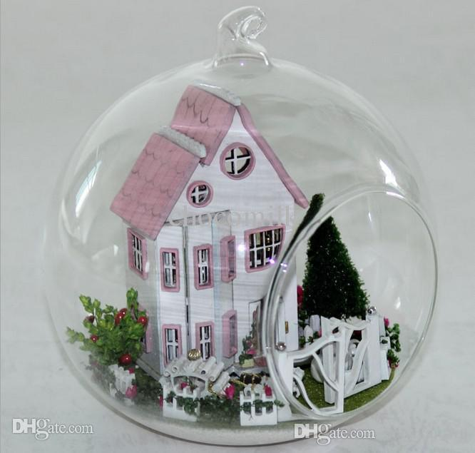 Wholesale Fairy princess villa Glass ball wood model houses assembling  dollhouse diy assembling toy kit. Wholesale Barbie Dolls Cottage