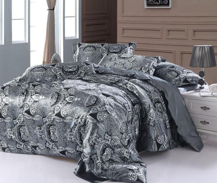 paisley bedding set super king size queen double silver grey satin quilt duvet cover fitted bed. Black Bedroom Furniture Sets. Home Design Ideas