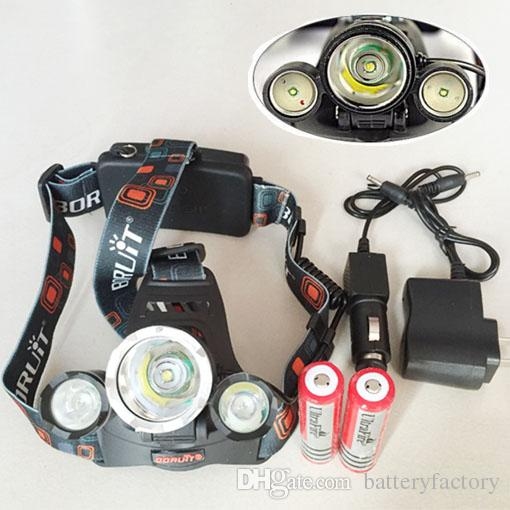 5000LM 3X CREE XML T6 LED headlamp 4 Mode Head Lamp + Chargeur secteur + 2 * Rec