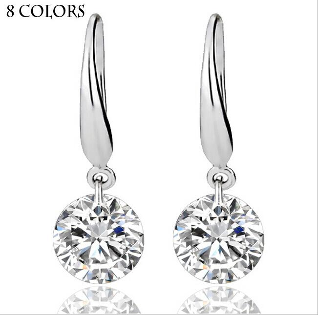 Real Solid 925 Sterling Silver Wedding Engagement Earring 2Ct Princess Cut créé