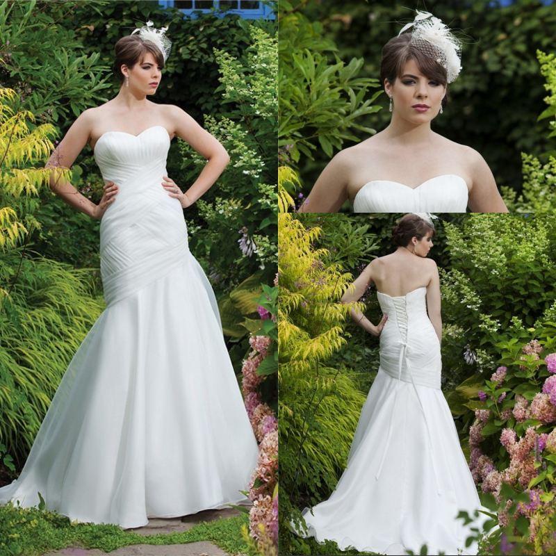 Cheap Simple Design Plus Size Wedding Dress 2016 Trumpet