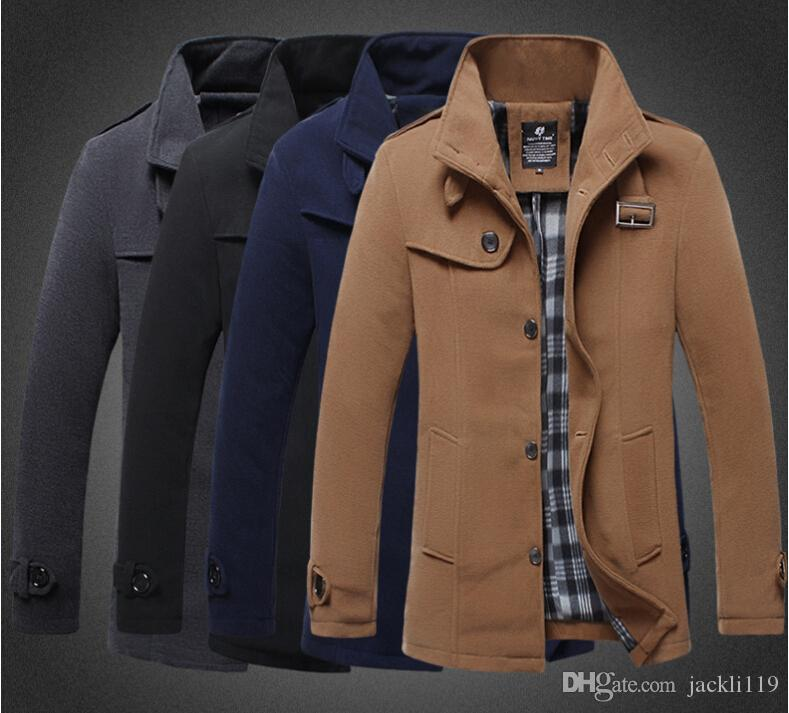 2015 Mens Autumn Winter Wool Coat Mens Trench Coats Slim Fit Pure ...