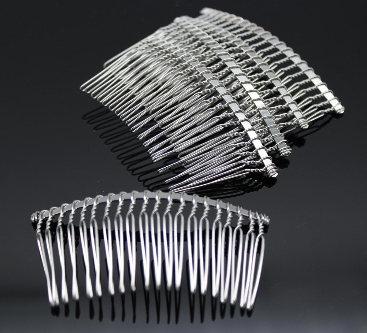 Silver metal hair side combs clips 80mm w 20 teeth for diy for Metal hair combs for crafts
