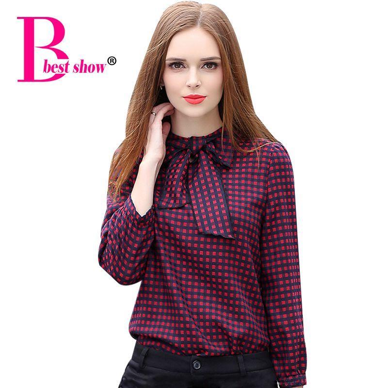 plus size women plaid shirts long sleeve elegant women bow tie
