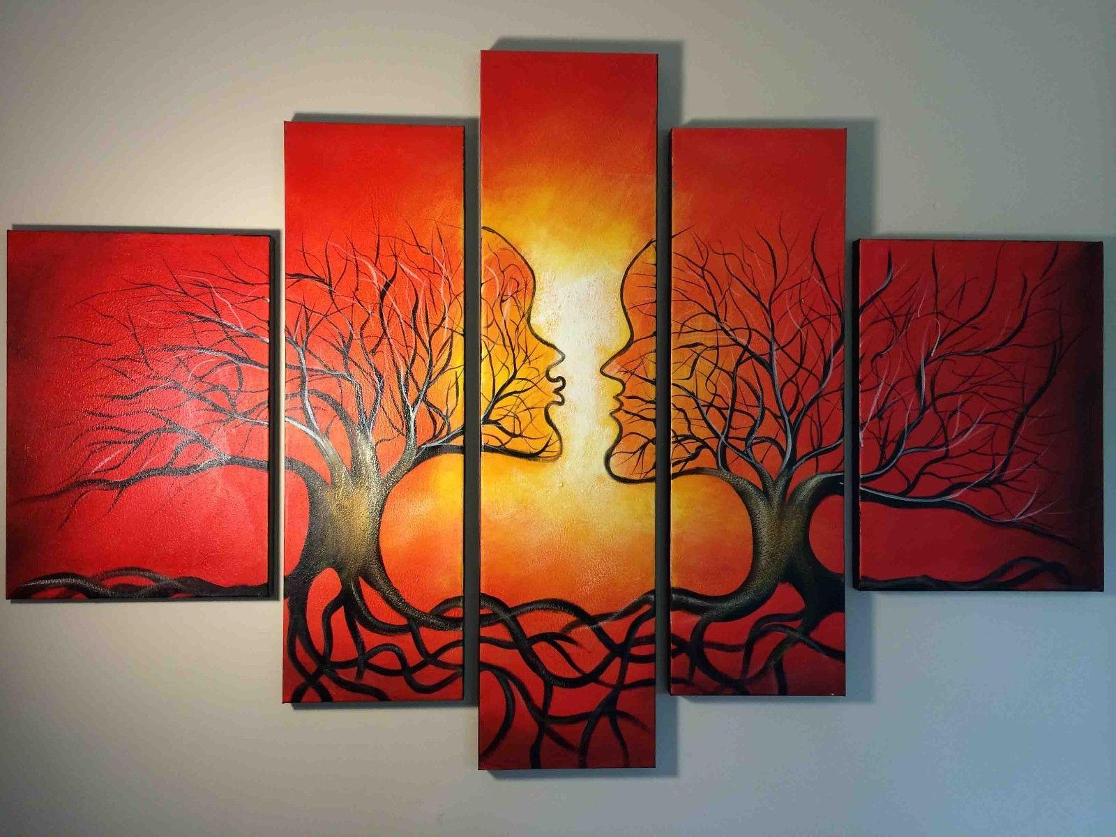 Red tree abstract oil painting on canvas framed modern for Red wall art