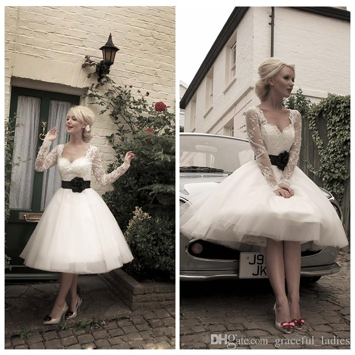 Ivory lace short wedding dress long sleeves knee length for 50 s style short wedding dresses