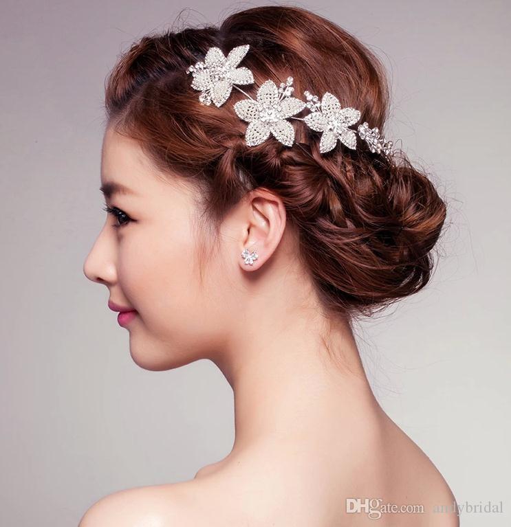 pas cher tiaras accessoires cheveux avec strass 2015 bijoux fascinators postiches fleur cristaux accessoires de marie - Accessoir Cheveux Mariage