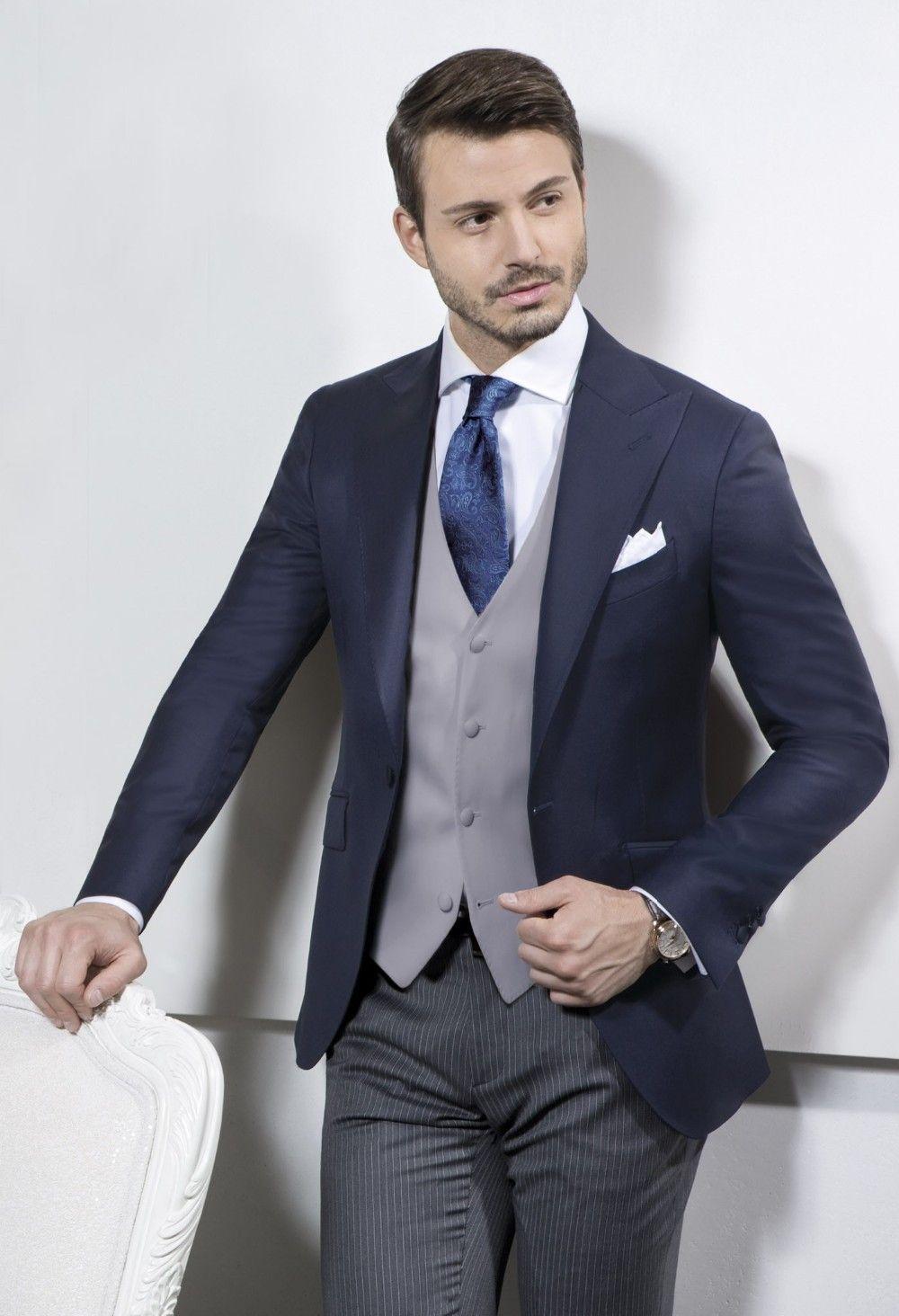 Wholesale-Italian Suit Brands Navy Blue Jacket Gray Men Vest Suit ...