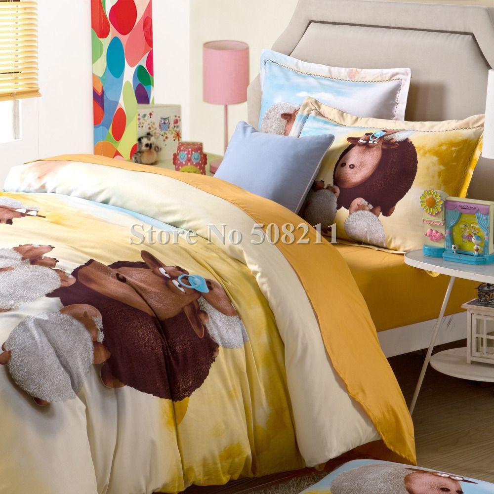 Modern quilt bedding - Wholesale Fashion Cartoon Sheeps Animal Yellow Full Queen Size Modern Quilt Duvet Comforter Duvet Covers Bedding Set Bedding Set Quilt Bedding Quilt Set