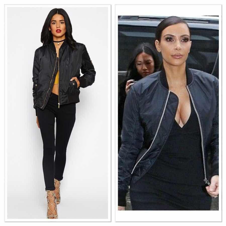 New Sexy Ladies Women Bomber Jacket Celebrity Ma 1 Vintage Zip Up ...