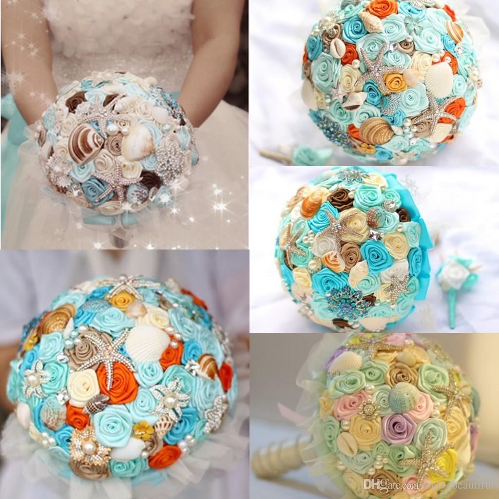 Summer Sea Beach Wedding Bridal Bouquets 2015 Luxurious Starfish Pearls Color