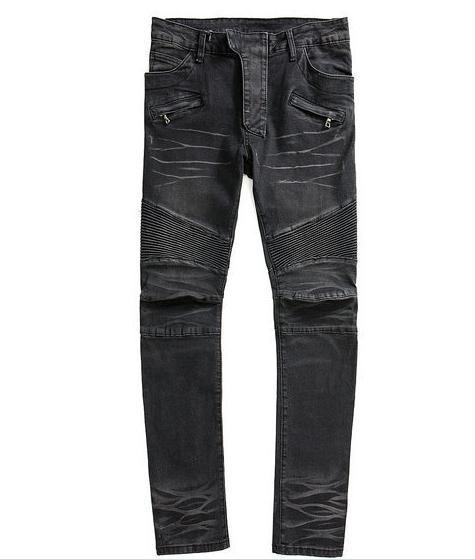 2015 Black Men's Balmain Jeans Skinny Straight Motorcycle Biker ...