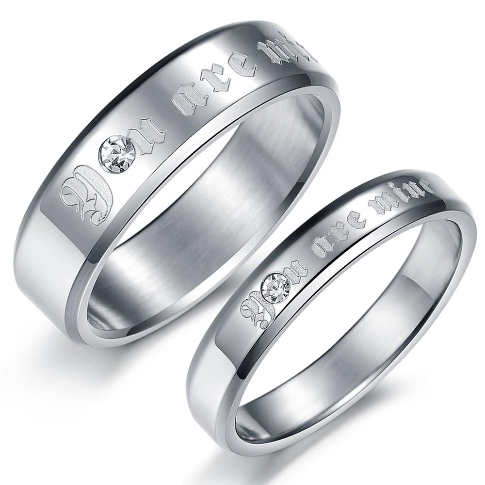 New Beautiful Couple Rings His And Her Titanium Steel Rings Gj365