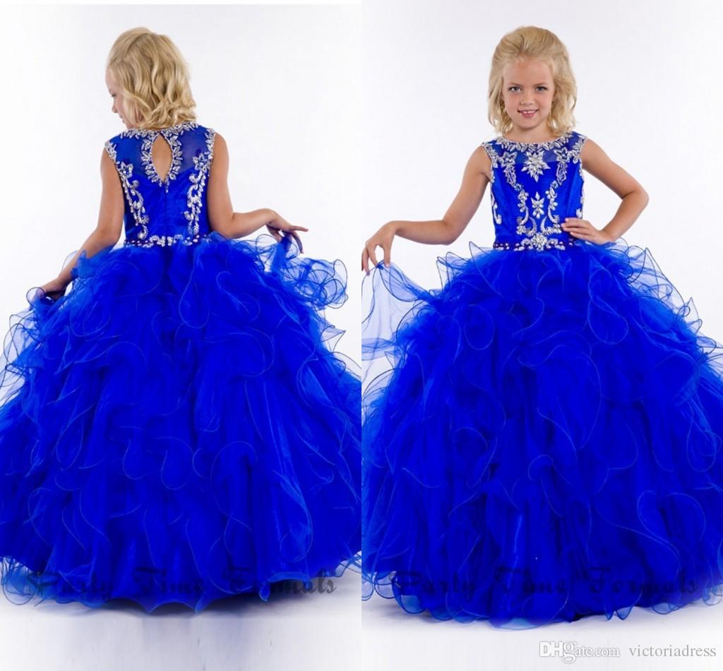 New Arrivals Scoop Neckline Kids Royal Blue Dresses Celebrity ...
