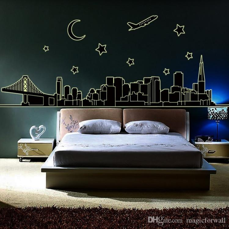 Glow In The Dark NYC New York Skyline Wall Stickers Decal Luminous Downtown  Cityscape Stars Moon Airplane Bridge Building Wall Murals Decor Downtown ...