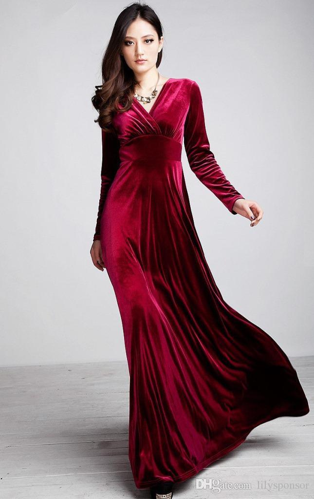 Designer Velvet Long Sleeve Gowns Slits Red Carpet Formal Fall And ...