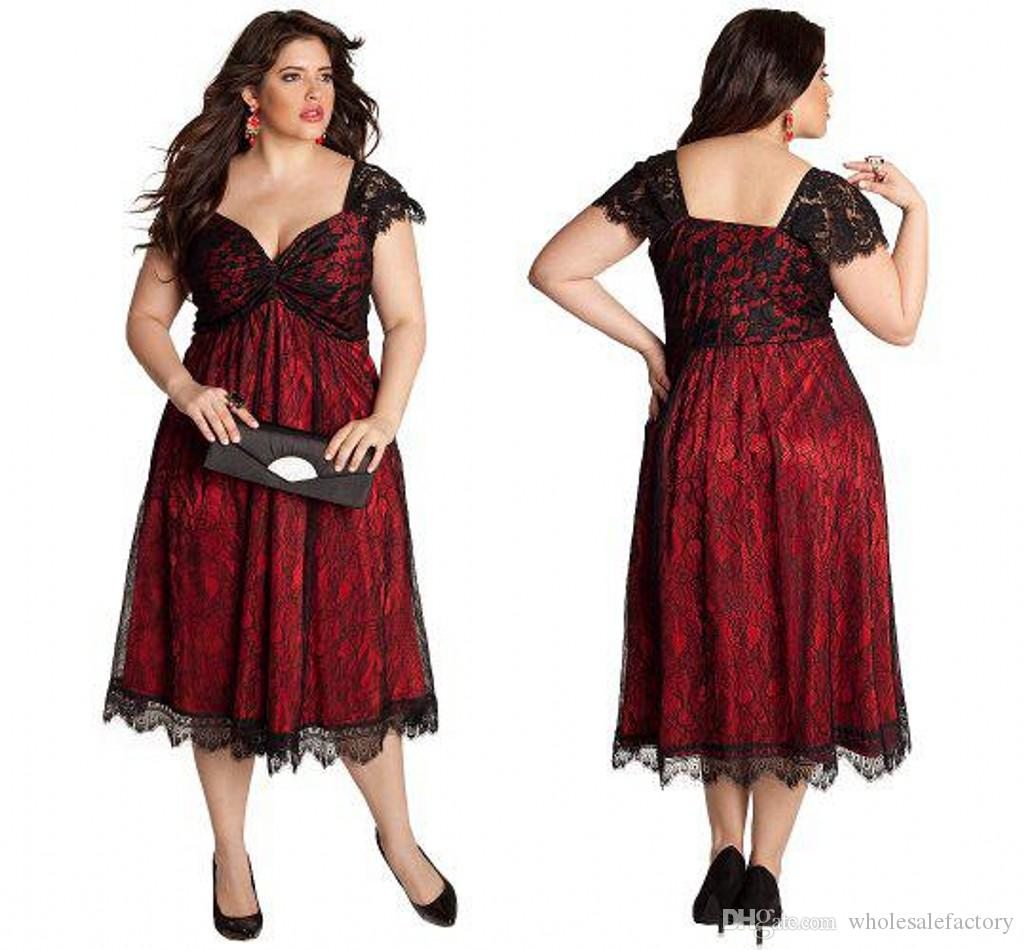 New Tea Length Plus Size Lace Evening Dresses A Line Sweetheart ...