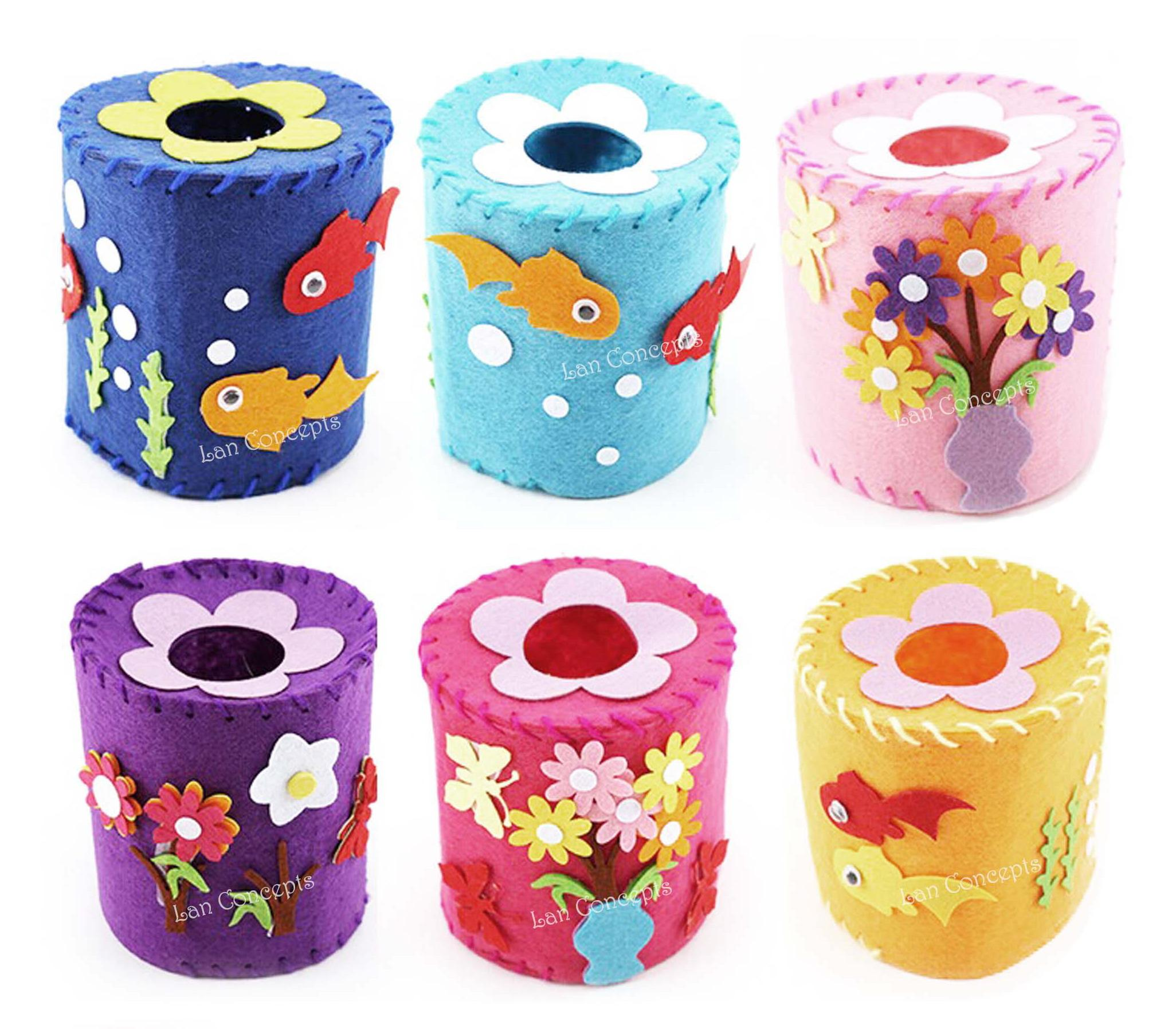 Craft kit for kids - Children Gift Diy Craft Kit Felt Tissue Toilet Paper Holder With Non Woven Sheets Knitting Wool And Needle 20 Sets Lot Wholesale