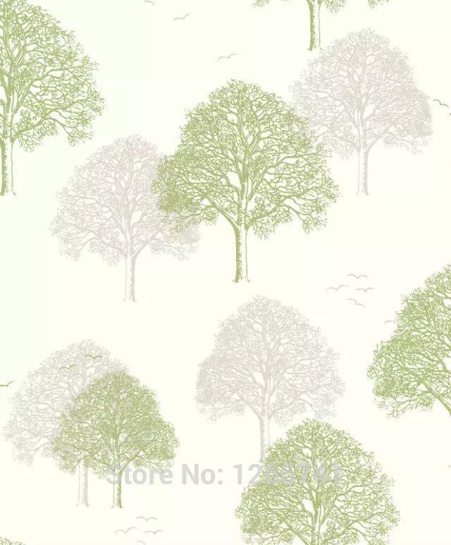 Modern Simple Art Trees/Forests On Light Blue Wallpaper