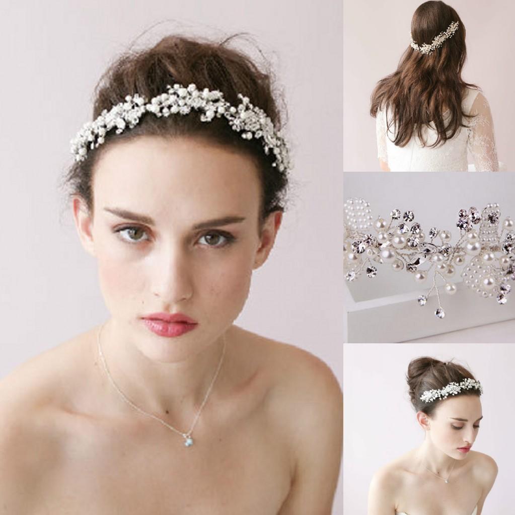 handmade wedding hair jewelry 2016 in stock luxury bridal crystal hair clips headband hair vine crystal pearls wedding headpiece bride bridal hair accessory