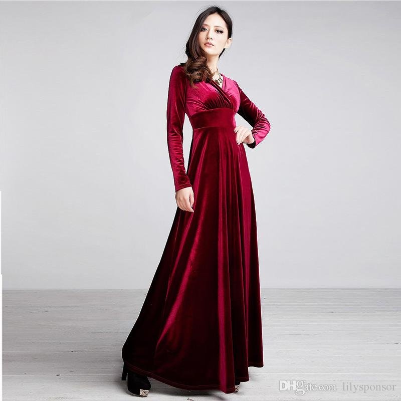 2015 Velvet Long Sleeve Maxi Fall And Winter Dresses Women Red ...