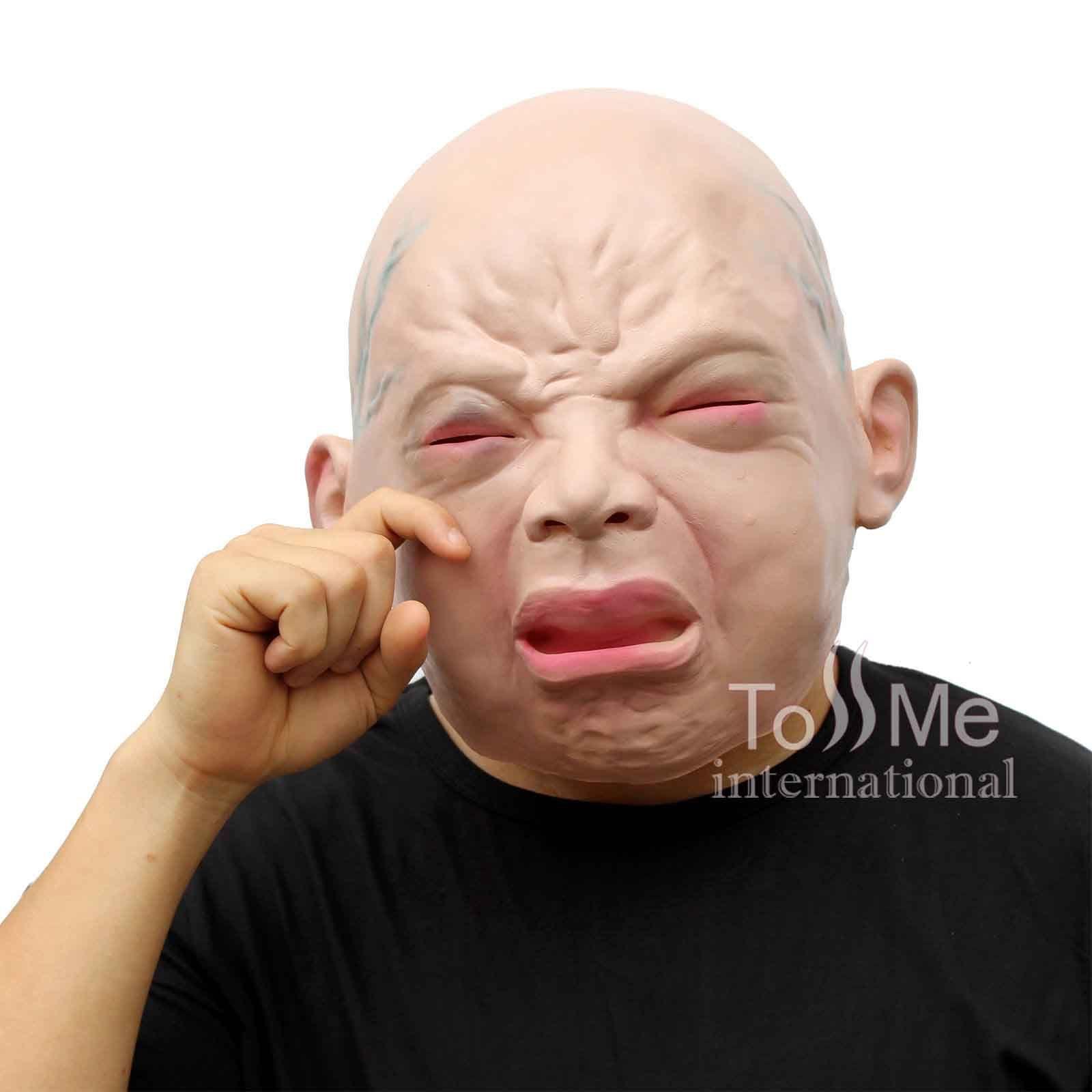 Halloween Party Creepy Cry Baby Full Head Face Latex Mask ...