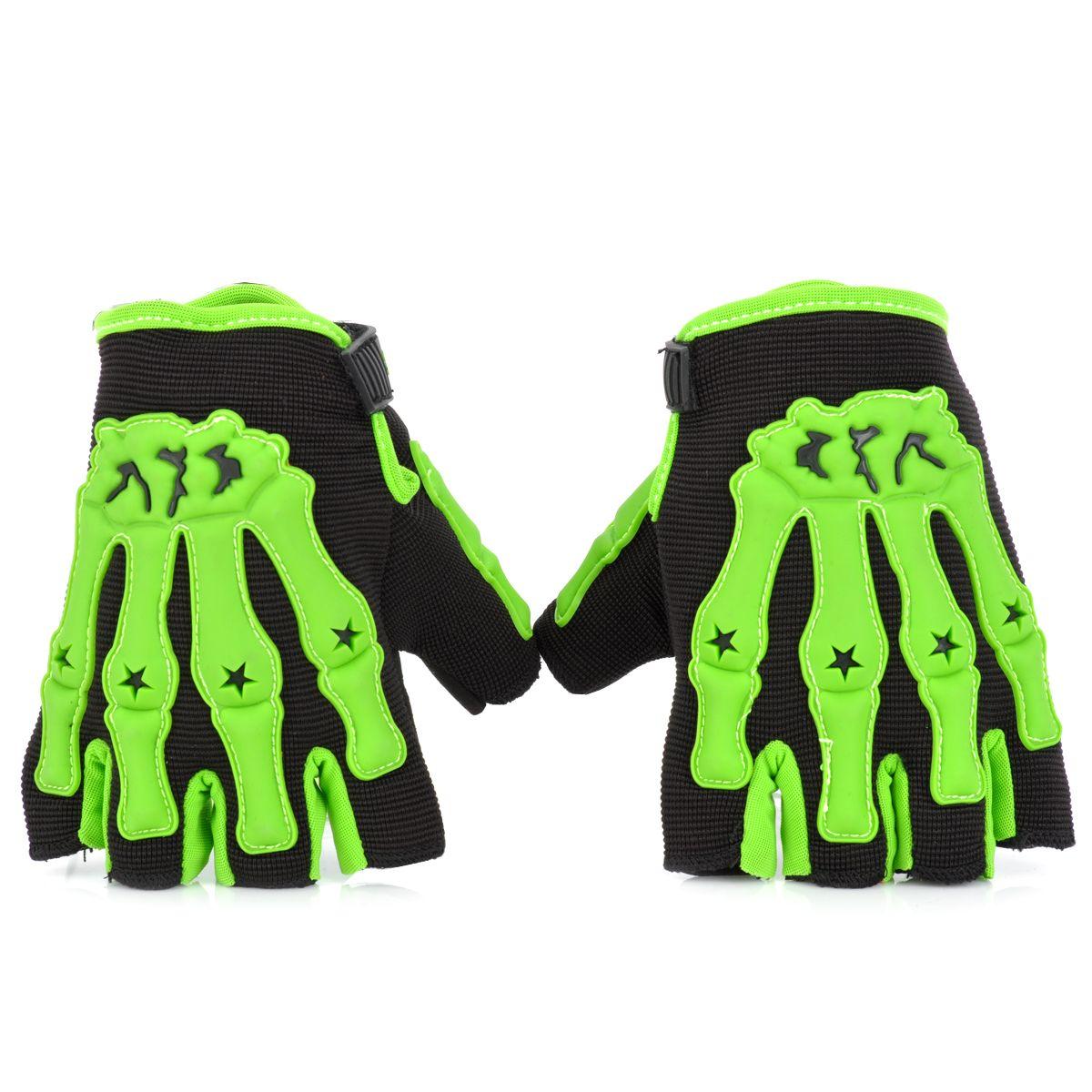 Motorcycle gloves half finger - Cool Design Outdoor Sport Gloves Skull Style Half Fingers Anti Slip Motorcycle Racing Gloves