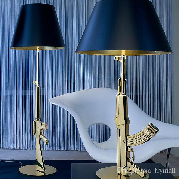 Discount modern flos ak47 chrome gold gun table lamps desk light starck design philippe read for Philippe starck ak table lamp