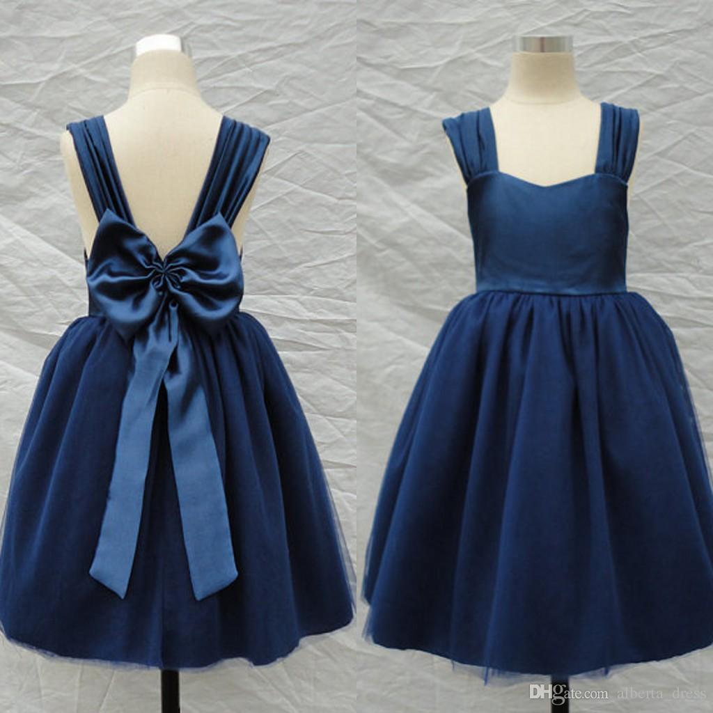 2015 Navy Blue Flower Girl Dresses A Line Straps Backless