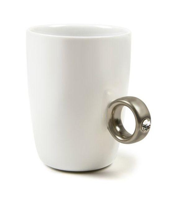 Novelty Ring Mug Couple Ceramic Cup Creative Diamond Ring Cup Bone ...