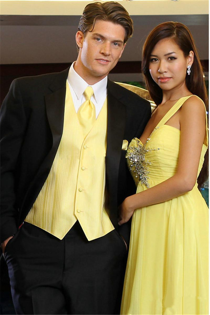 New Groom Tuxedos Black Formal Suits Yellow Vest Peak Lapel Best ...