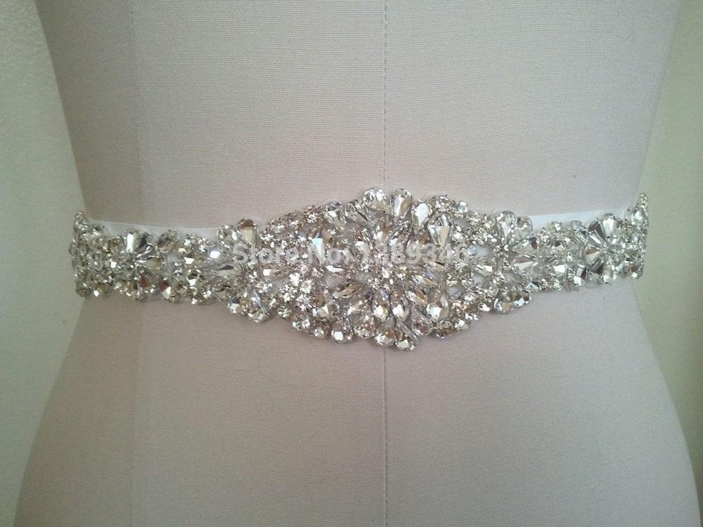 2015 Cheap Hot Best Selling Handmade Satin Crystal Beaded Bridal Belt Wedding Dress Sashes Belts