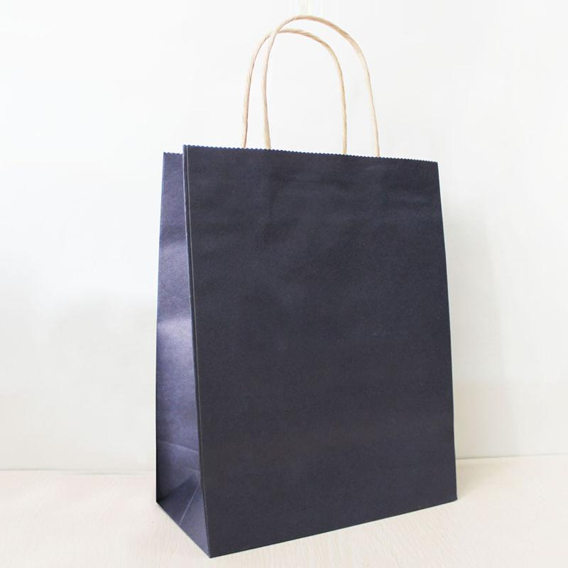 21*15*8cm Dark Blue Paper Shopping Bag With Handle,130gsm Kraft ...