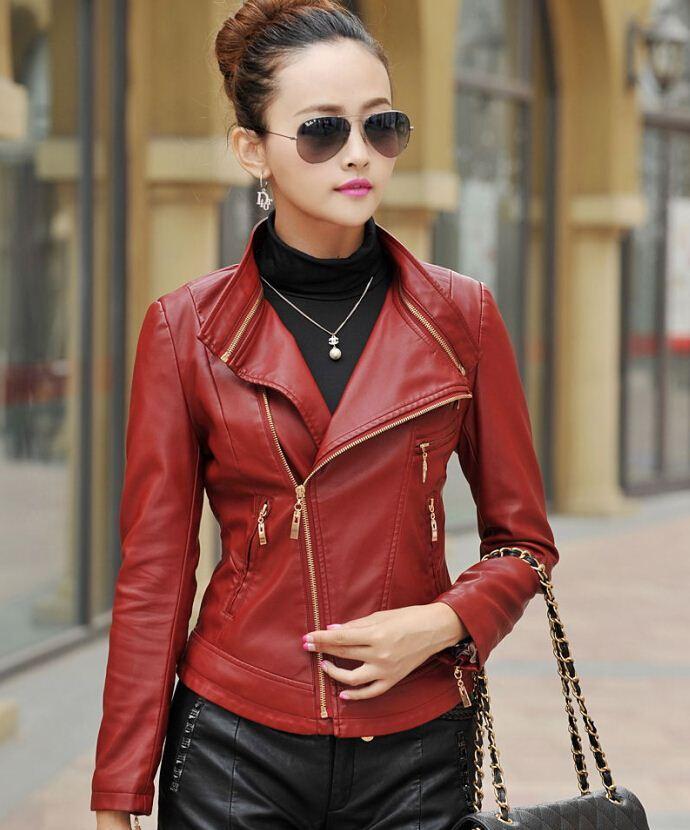 Women's short red leather jacket – Modern fashion jacket photo blog