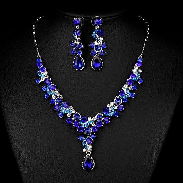 royal blue 2015 wedding jewelry sets shining rhinestone