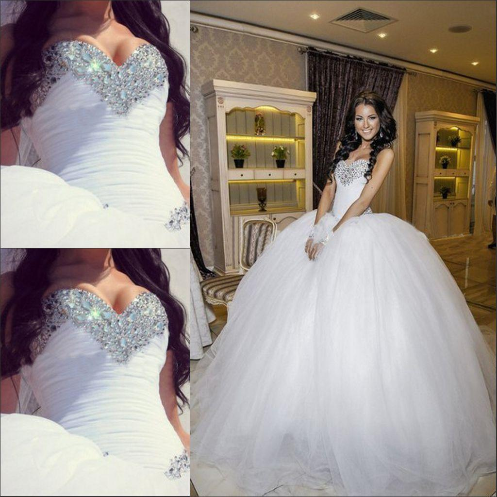 Hot Sale In Stock Wedding Dress Crystal Beading Sweetheart