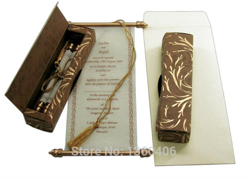 Gold Metal Scroll Wedding Gift Card Box : Scroll Wedding Invitations Card Wholesale Party Wedding India Gold ...