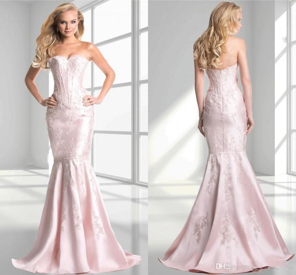 Baby Pink Mermaid Prom Dresses 2015 Maid Of Honor Dresses ...