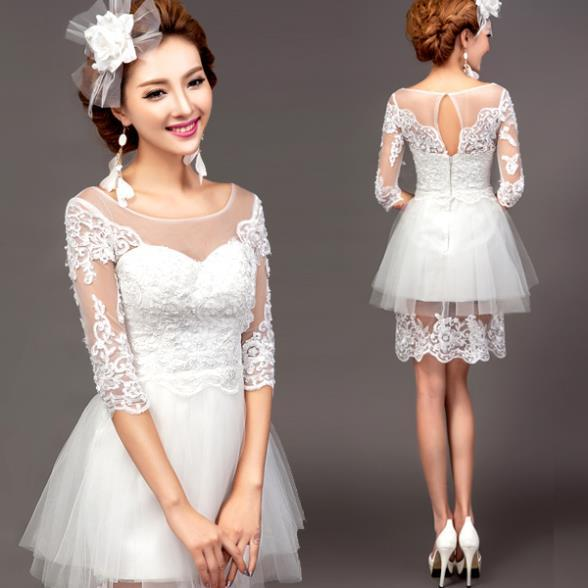 Sexy Princess Lace Short Wedding Dress 2015 Spring Summer Half ...