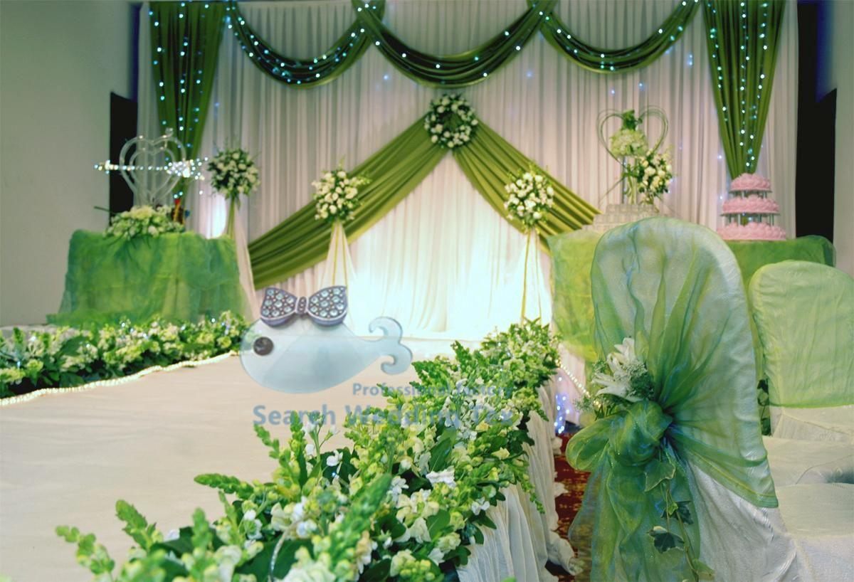 2017 white and apple green color new design drape wedding for Background curtain decoration