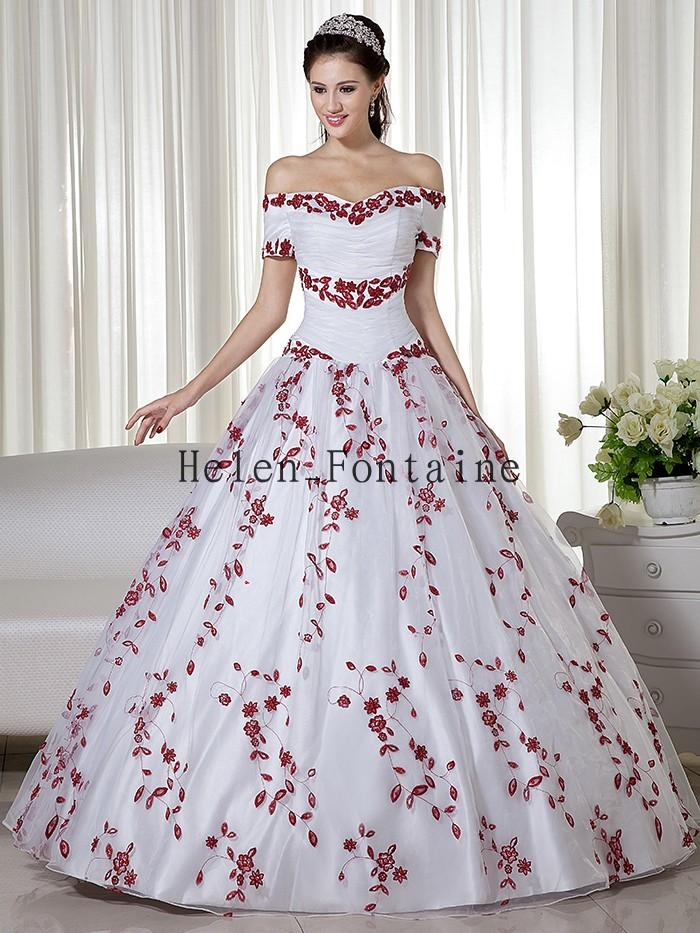 White and red two tones ball gown princess off the for Affordable non traditional wedding dresses