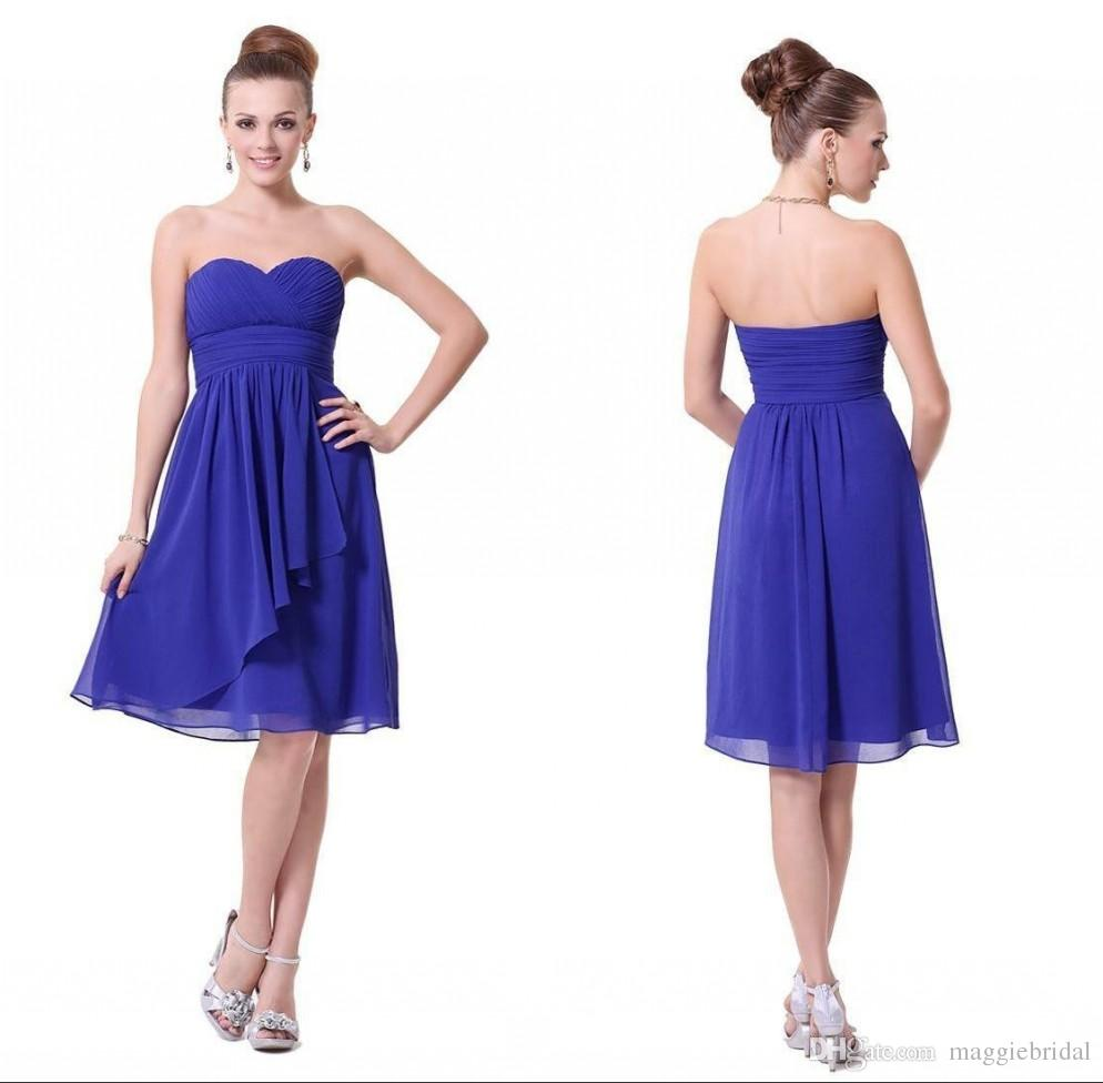 Simple a line chiffon bridesmaid dresses short for Junior wedding guest dresses for summer