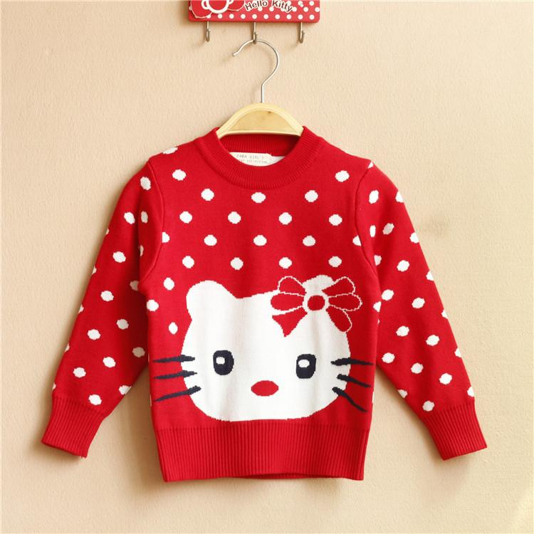 Knitting Pattern For Hello Kitty Sweater : Girl Spring Cotton Sweater Coat Child Children Hello Kitty Pullover Knitted T...