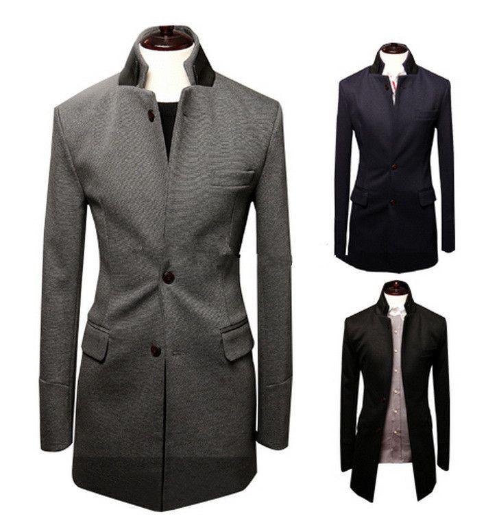 Blazer Men Leather Stand Collar Men Coat Suit Man Jacket Fashion ...