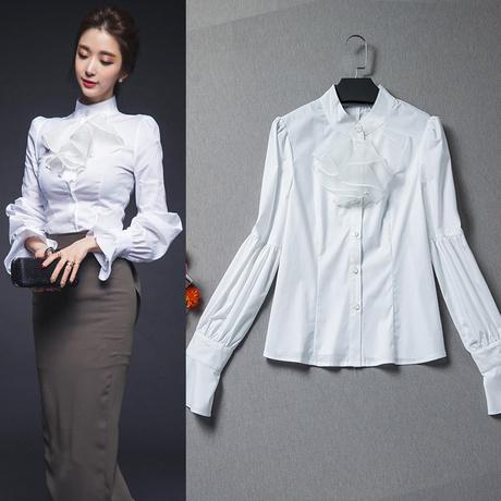 White Victorian Shirt Long Lantern Sleeve Blouses with Ruffles ...