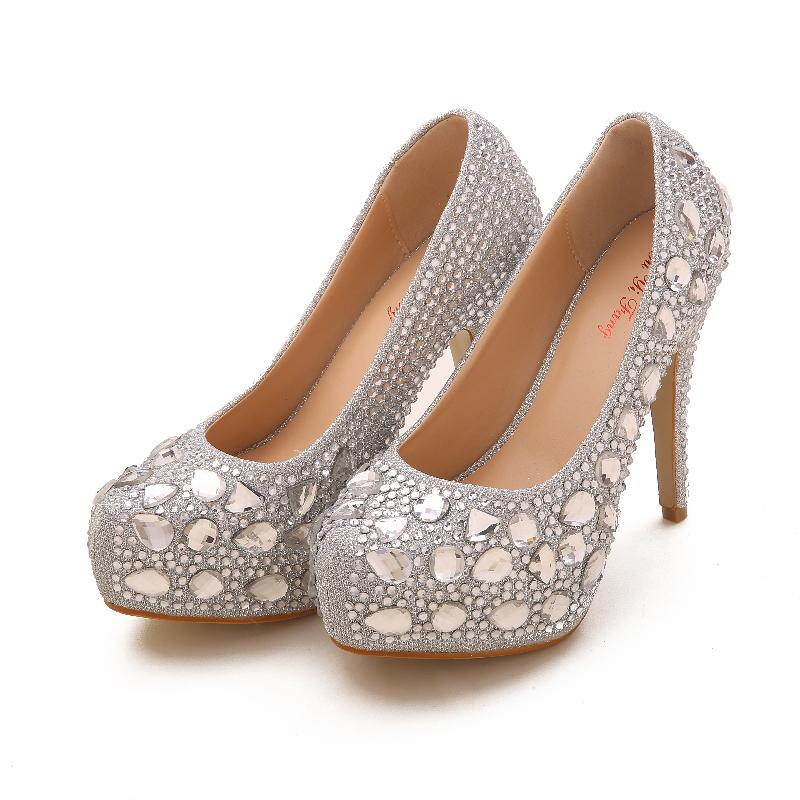 2015 gorgeous silver color 12cm high heels