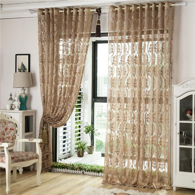 3 styles customer made sheer curtains cream coffee brown for M s living room curtains